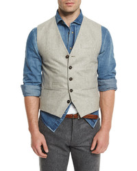 Beige Wool Waistcoat