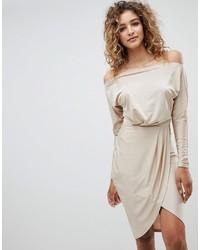 Beige Wrap Dress