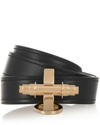 Givenchy Obsedia Bracelet In Black Leather And Gold Tone