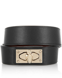 Givenchy Shark Lock Bracelet In Leather And Gold Tone Brass