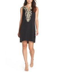 Black and Gold Embroidered Shift Dress