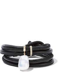 Mizuki 14 Karat Gold Leather Pearl And Diamond Wrap Bracelet Black
