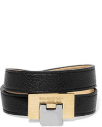 Balenciaga Le Dix Textured Leather Ilver And Gold Tone Bracelet Black
