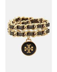 Tory Burch Leather Woven Chain Wrap Bracelet Black Gold