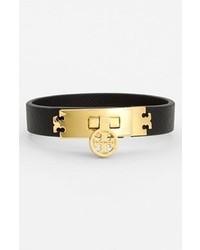 Tory Burch Logo Turnlock Leather Bracelet