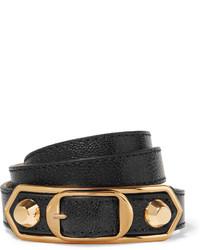 Balenciaga Metallic Edge Textured Leather And Gold Tone Bracelet Black