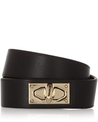 Givenchy Shark Lock Bracelet In Leather And Gold Tone Brass Black