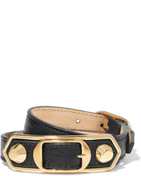 Triple tour textured leather and gold tone bracelet black medium 664796