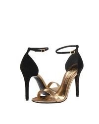 Black and Gold Leather Heeled Sandals