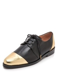 Black and Gold Leather Oxford Shoes