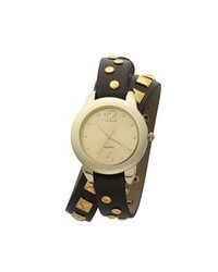 Black and Gold Leather Watch
