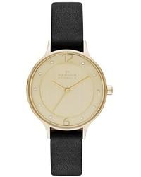 Skagen Anita Crystal Index Leather Strap Watch 30mm