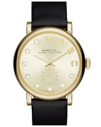 Marc Jacobs Baker Crystal Index Leather Strap Watch 36mm