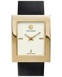 Tory Burch Buddy Classic Rectangular Saffiano Leather Strap Watch 26mm X 32mm