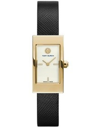 Tory Burch Buddy Signature Rectangular Leather Strap Watch 17mm X 31mm