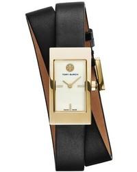 Tory Burch Buddy Signature Rectangular Wrap Leather Strap Watch 17mm X 31mm