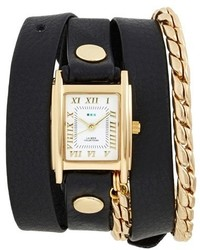 La Mer Collections Leather Chain Wrap Watch 19mm
