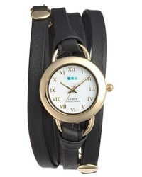 La Mer Collections Saturn Leather Wrap Bracelet Watch 22mm