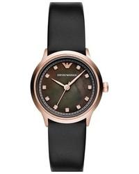 Emporio Armani Crystal Index Leather Strap Watch 26mm