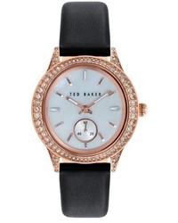 Ted Baker London Vintage Glam Crystal Bezel Leather Strap Watch 34mm