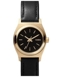 Nixon The Small Time Teller Leather Strap Watch 26mm