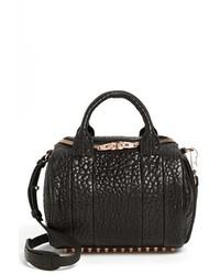 Rockie rose gold leather crossbody satchel black medium 353866
