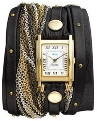 Collections venice leather chain wrap bracelet watch 30mm x 23mm medium 63855