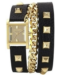 Double wrap chain leather strap watch 21mm medium 63805