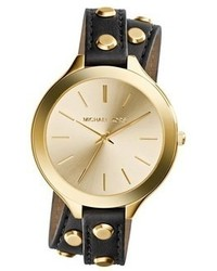 MICHAEL Michael Kors Michl Michl Kors Michl Kors Slim Runway Double Wrap Leather Strap Watch 42mm