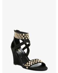 Black and Gold Studded Suede Wedge Sandals