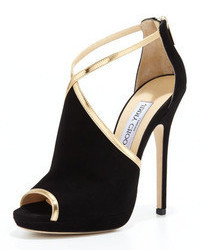 Black and Gold Suede Heeled Sandals