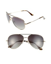 Polaroid Eyewear 59mm Polarized Aviator Sunglasses Gold Havana None