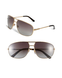 Gucci Metal 64mm Aviator Sunglasses Gold One Size