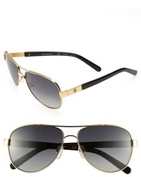 Tory Burch Small 57mm Polarized Metal Aviator Sunglasses Gold