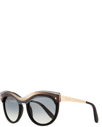 Salvatore Ferragamo Universal Fit Rounded Translucent Brow Sunglasses Black