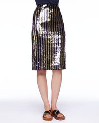 Black and Gold Vertical Striped Sequin Pencil Skirt