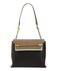 Chloé Chloe Clare Tricolor Leather Shoulder Bag Black