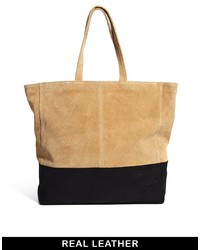Asos Leather Tote Bag With Embossed Snake Panel