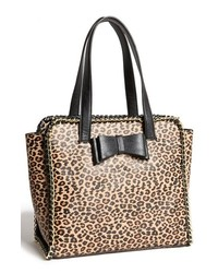Black and Tan Leopard Leather Tote Bag