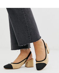ASOS DESIGN Wide Fit Whisker Slingback Mid Heels In Fabrication
