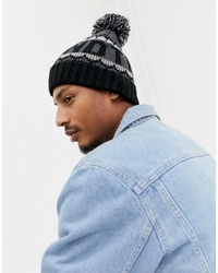 Timberland Large Logo Pom Pom Beanie In Black Grey