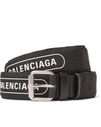 Balenciaga 3cm Black Logo Print Canvas And Leather Belt