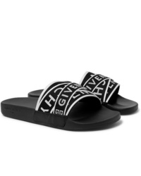 Givenchy Logo Jacquard Webbing Leather And Rubber Slides