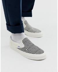 Vans Slip On Checkerboard Plimsolls In Black