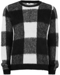 Black and White Check Crew-neck Sweater