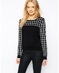 Grid print zip back sweater medium 175127