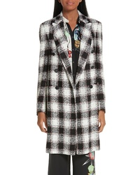 Black and White Check Tweed Coat