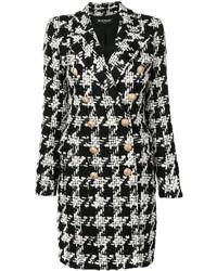 Balmain Houndstooth Tweed Coat