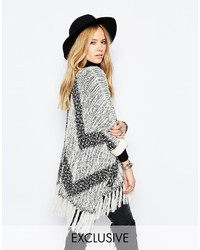 Sunshine soul boho oversized poncho sweater with zig zag lightweight knit tassel details medium 347541
