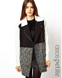 Asos Petite Coat With Patch Color Block